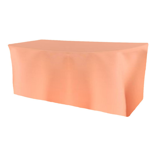 Solid Polyester Fitted Table Box Linen-Peach