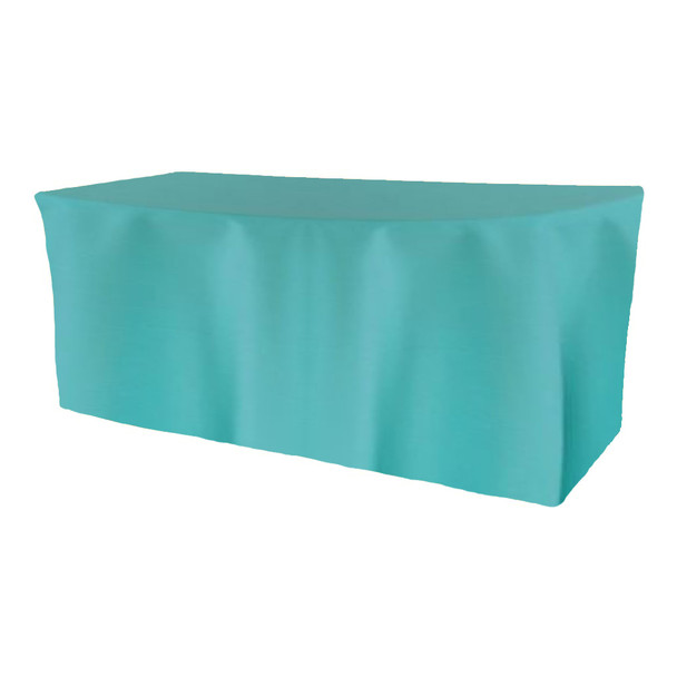 Solid Polyester Fitted Table Box Linen-Tiffany Blue