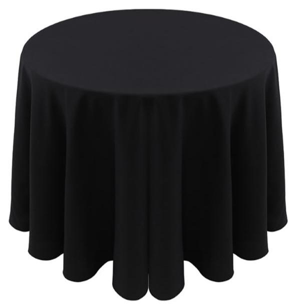 Spun Polyester Tablecloth Linen-Black