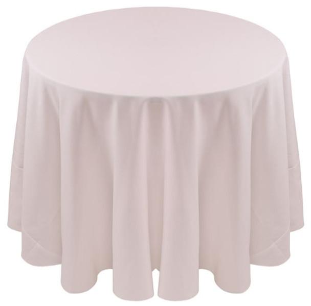 Spun Polyester Tablecloth Linen-White