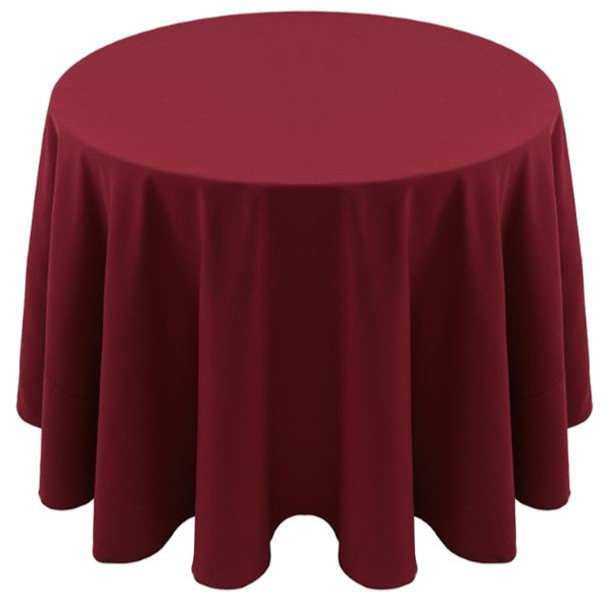 Spun Polyester Tablecloth Linen-Burgundy