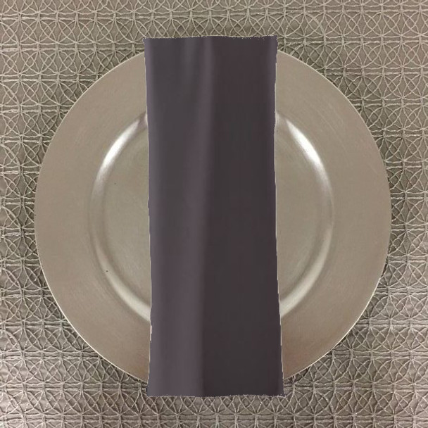 Dozen (12-pack) Spun Polyester Table Napkins-Charcoal