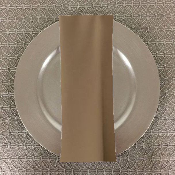 Dozen (12-pack) Spun Polyester Table Napkins-Khaki