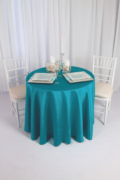 Solid Bengaline Textured Tablecloth Linen-Teal
