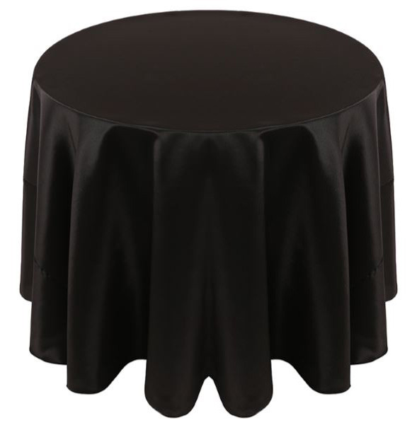 Solid Bengaline Textured Tablecloth Linen-Black
