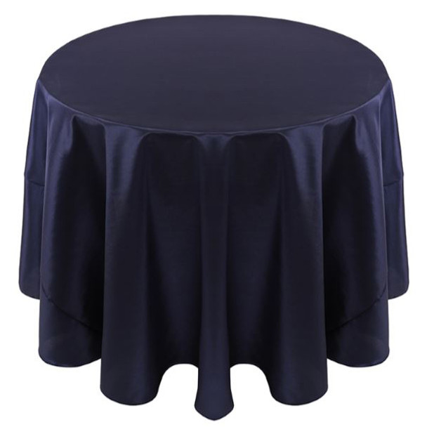 Solid Bengaline Textured Tablecloth Linen-Navy