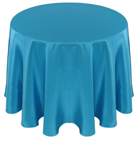 Solid Bengaline Textured Tablecloth Linen-Turquoise