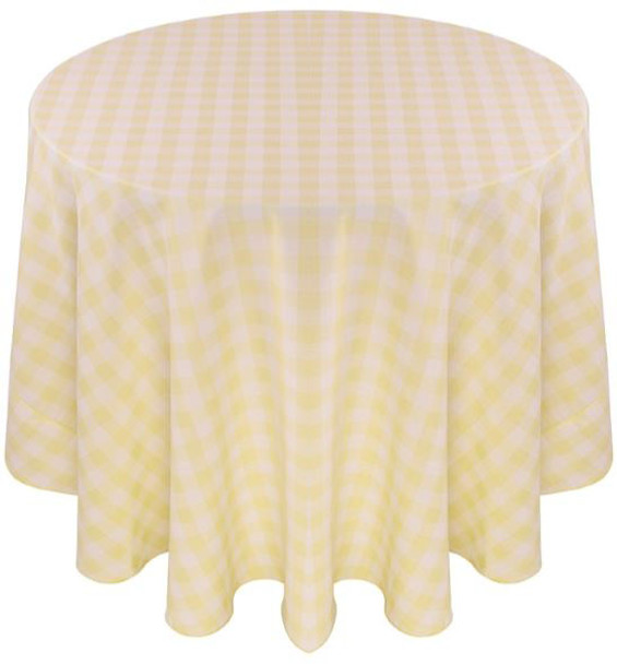 Checkered Print Spun Polyester Tablecloth Linen-Maize