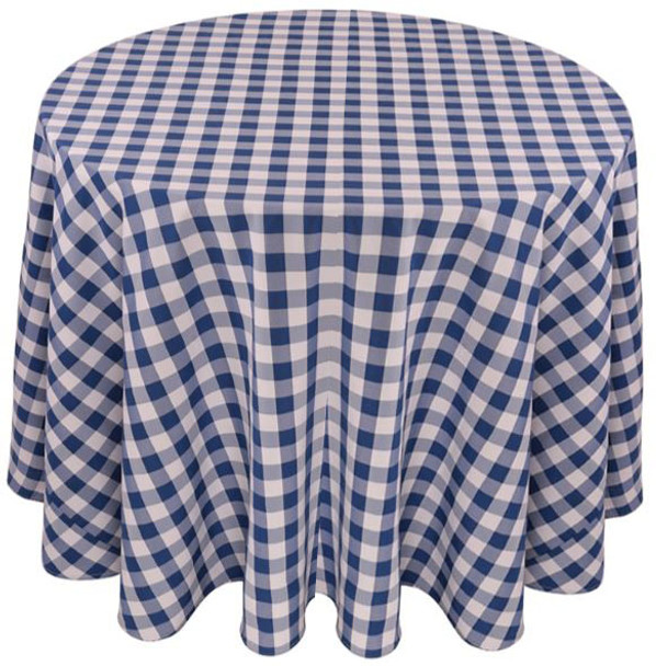 Checkered Print Spun Polyester Tablecloth Linen-Royal