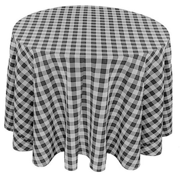 Checkered Print Spun Polyester Tablecloth Linen-Black