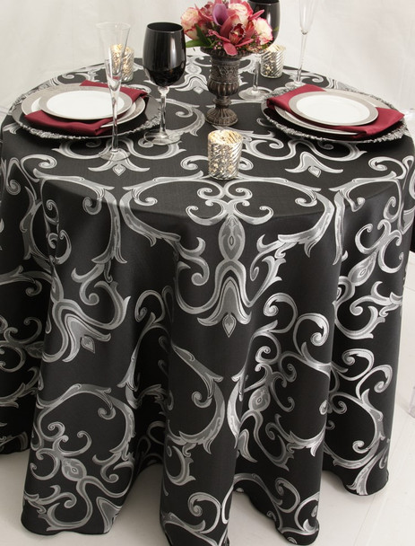 Chopin Damask Tablecloth Linen-Black Silver