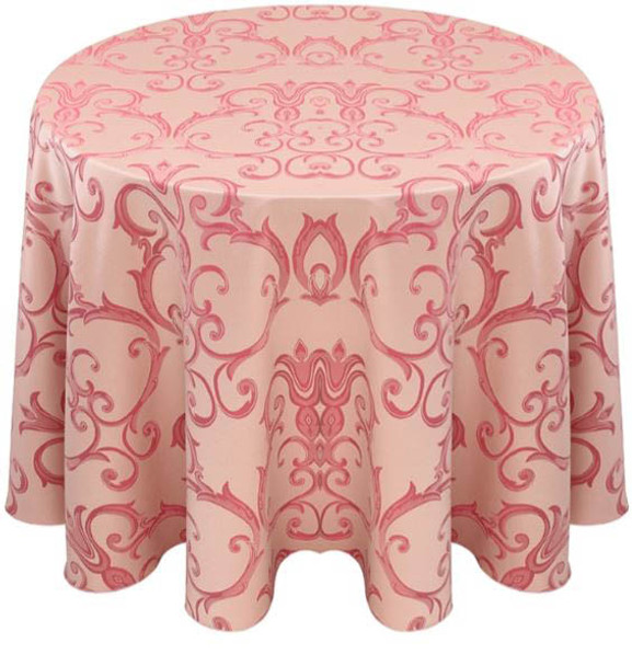 Chopin Damask Tablecloth Linen-Blush