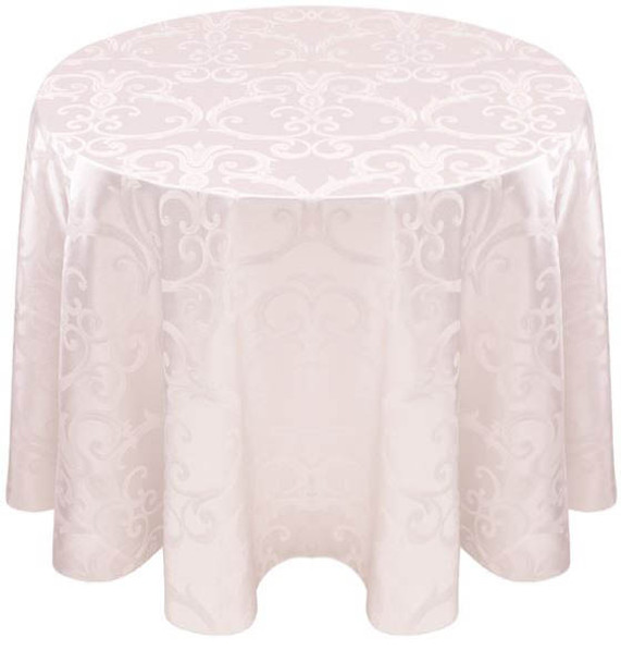 Chopin Damask Tablecloth Linen-White