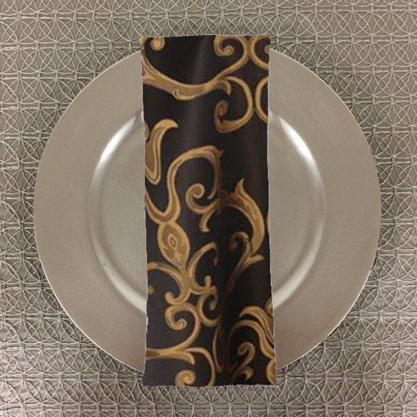 Dozen (12-pack) Chopin Damask Table Napkins-Black Gold