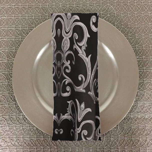 Dozen (12-pack) Chopin Damask Table Napkins-Black Silver