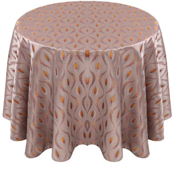 Eclectic Art Deco Jacquard Tablecloth Linen-Tangerine Grey