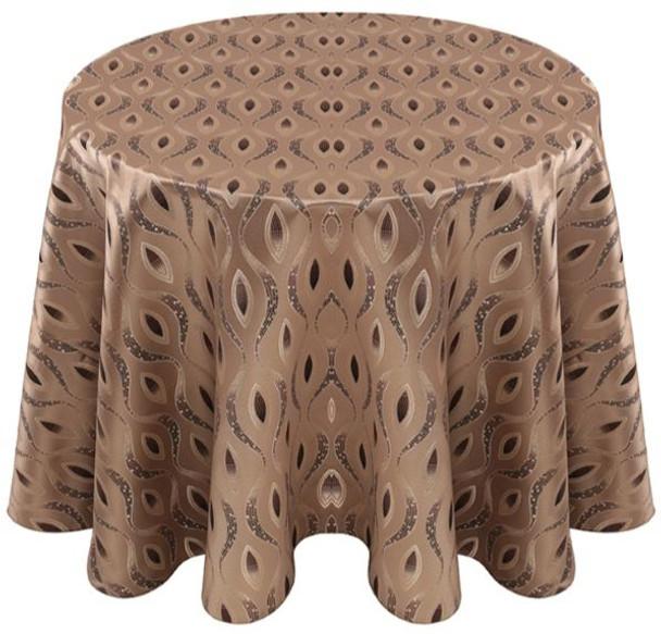 Eclectic Art Deco Jacquard Tablecloth Linen-Bronze