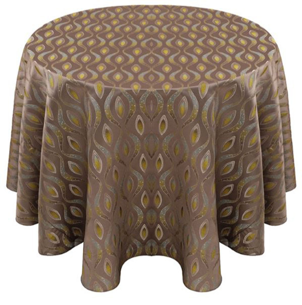 Eclectic Art Deco Jacquard Tablecloth Linen-Silver Lime