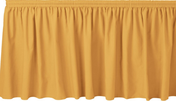 "30""H Solid Polyester Shirred Table Skirting (By the Foot) Includes Velcro Clips"