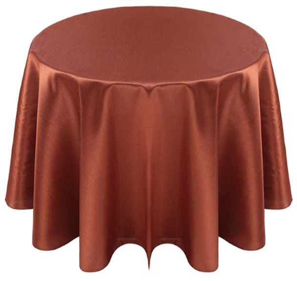 Faux Dupioni Polyester Based Tablecloth Linen-Copper