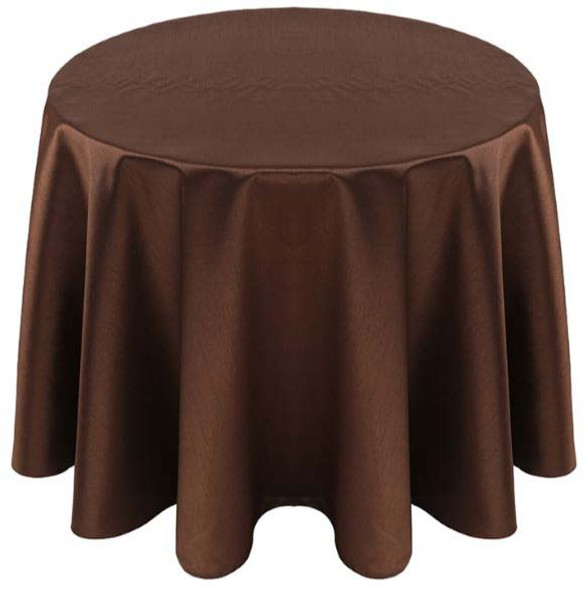 Faux Dupioni Polyester Based Tablecloth Linen-Brown
