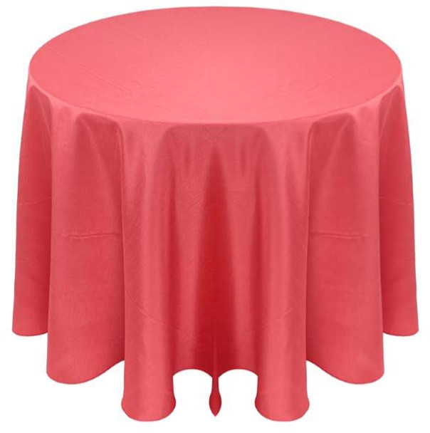 Faux Dupioni Polyester Based Tablecloth Linen-Coral