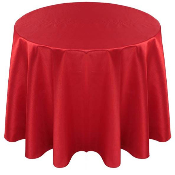 Faux Dupioni Polyester Based Tablecloth Linen-Red