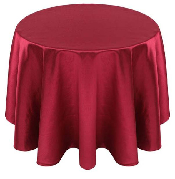 Faux Dupioni Polyester Based Tablecloth Linen-Burgundy