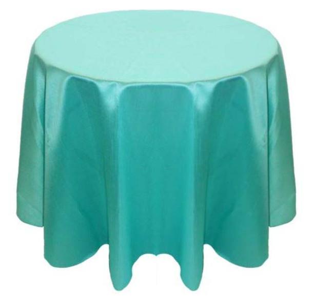 Faux Dupioni Polyester Based Tablecloth Linen-Aqua