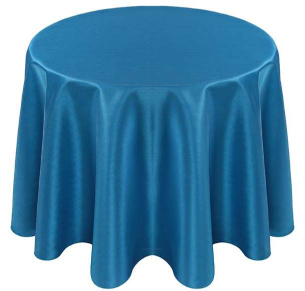 Faux Dupioni Polyester Based Tablecloth Linen-Turquoise