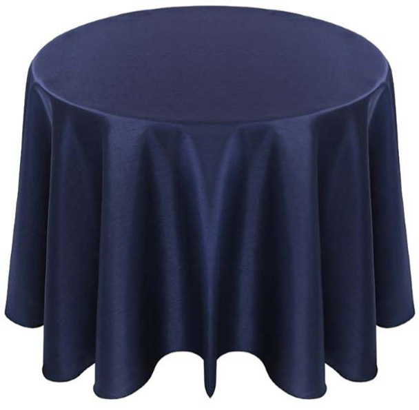 Faux Dupioni Polyester Based Tablecloth Linen-Navy