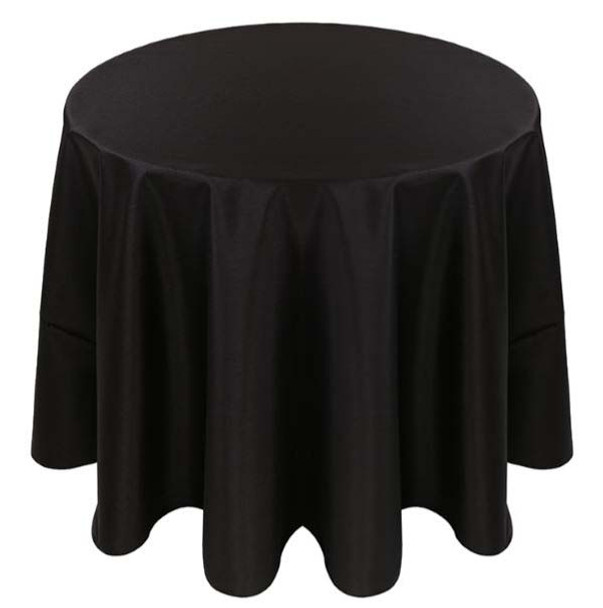Faux Dupioni Polyester Based Tablecloth Linen-Black