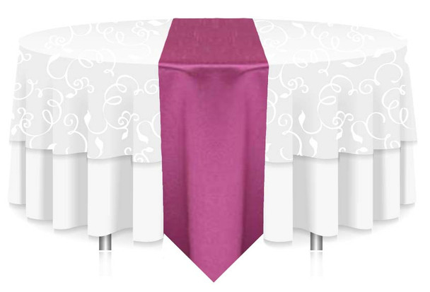 """12""""W Faux Dupioni Polyester Based Table Runner Linen-Magenta"""