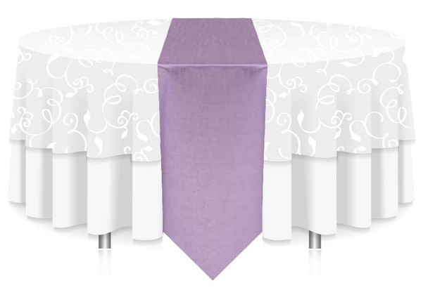 """12""""W Faux Dupioni Polyester Based Table Runner Linen-Lilac"""