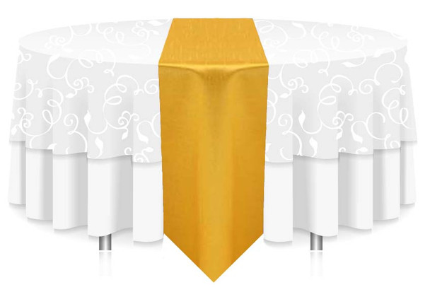 """12""""W Faux Dupioni Polyester Based Table Runner Linen-Lemon"""