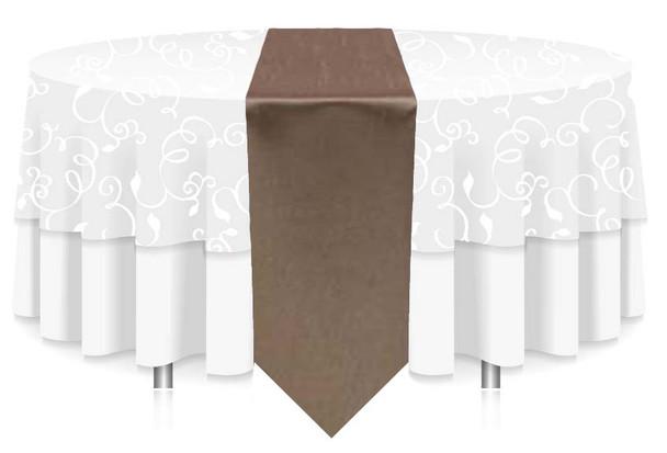 "12""W Faux Dupioni Polyester Based Table Runner Linen-Khaki"