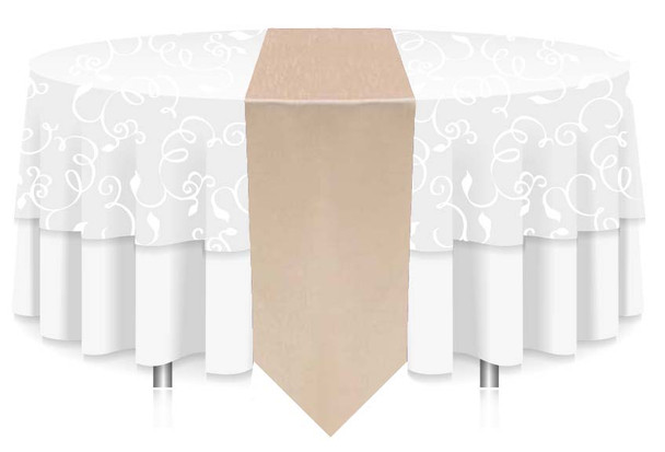 """12""""W Faux Dupioni Polyester Based Table Runner Linen-Ivory"""