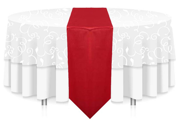 """12""""W Faux Dupioni Polyester Based Table Runner Linen-Red"""