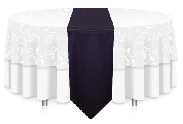 """12""""W Faux Dupioni Polyester Based Table Runner Linen-Purple"""