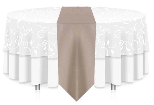 "12""W Faux Dupioni Polyester Based Table Runner Linen-Platinum"