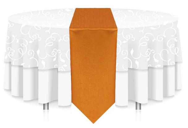 "12""W Faux Dupioni Polyester Based Table Runner Linen-Orange"
