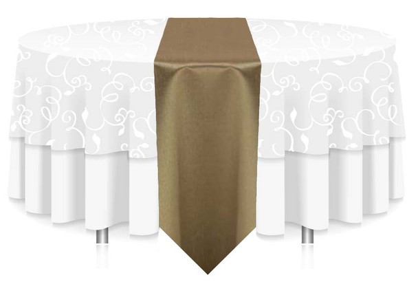"""12""""W Faux Dupioni Polyester Based Table Runner Linen-Olive"""