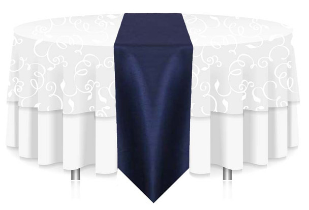 """12""""W Faux Dupioni Polyester Based Table Runner Linen-Navy"""