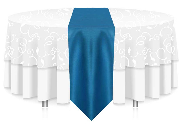 """12""""W Faux Dupioni Polyester Based Table Runner Linen-Turquoise"""