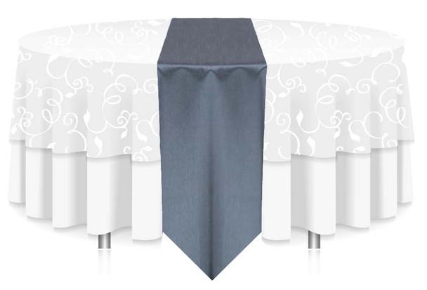 "12""W Faux Dupioni Polyester Based Table Runner Linen-Slate"