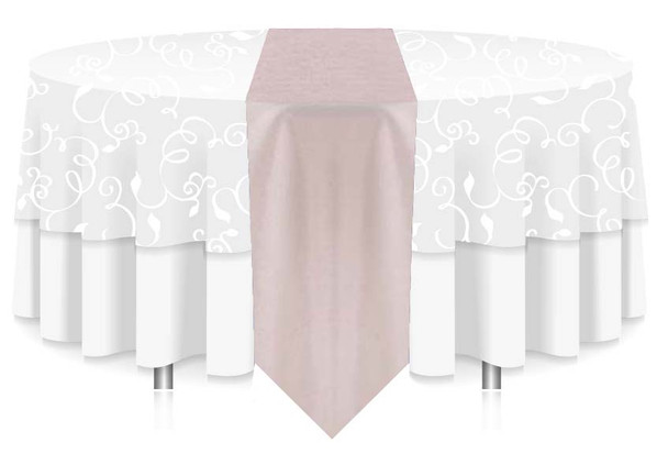 "12""W Faux Dupioni Polyester Based Table Runner Linen-White"