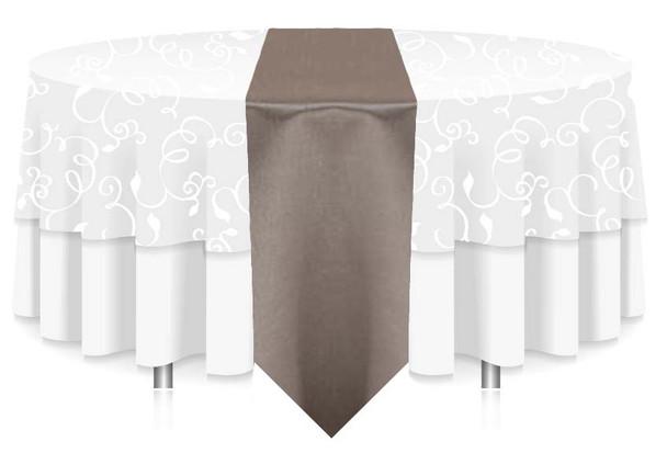 """12""""W Faux Dupioni Polyester Based Table Runner Linen-Vapor"""