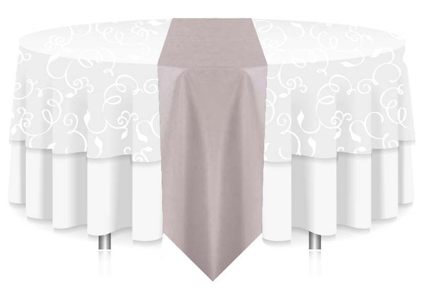 """12""""W Faux Dupioni Polyester Based Table Runner Linen-Silver"""