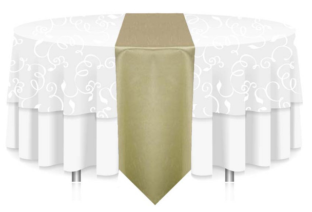 """12""""W Faux Dupioni Polyester Based Table Runner Linen-Sage"""