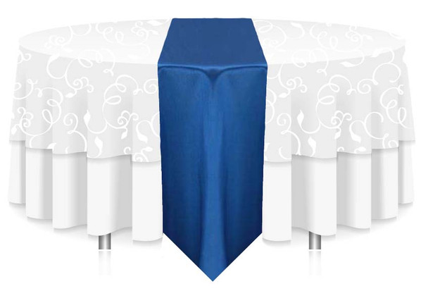 """12""""W Faux Dupioni Polyester Based Table Runner Linen-Royal"""